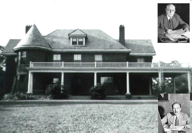 Julius Stone Sr. (upper right) and his son Julius are shown with a photo of their home at 1065 Westwood Ave. in Grandview Heights. The senior Stone was a prominent Columbus businessman , outdoorsman and philanthropist.