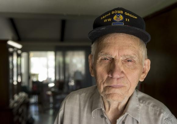 Apple Valley resident and veteran Aubrey Burke, 97, served as an Army Air Force machinist supporting B-24 bombers during World War II.