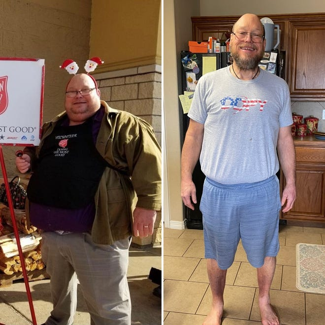 These pictures show Waxahachie attorney Vance Hinds before (left) and after (right) his dramatic effort at weight loss, from 475 pounds down to his current weight of 226 pounds. Hinds has written a book on his journey and will be holding a book signing on Saturday, Feb. 13 at Mother Masons inside Ann's Health Foods Center on U.S. Highway 77 North.