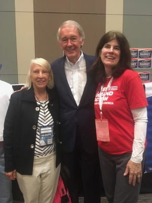 Jacquie Haas and Mary Ellen Sikes of Weston with Sen. Ed Markey (before the pandemic!)
