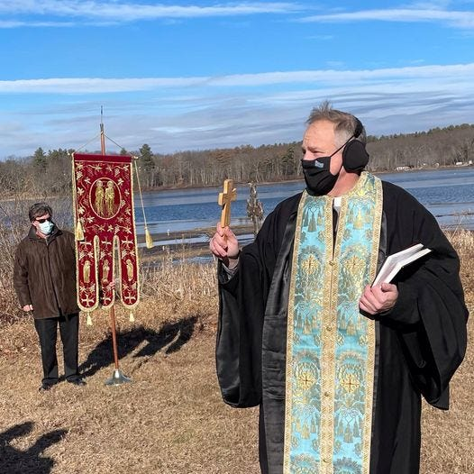 Father Gregory Nicholas Christakos, of the Sts. Anargyroi Greek Orthodox Church in Marlborough, conducts the annual outdoor Blessing of the Waters at the Fort Meadow Reservoir.