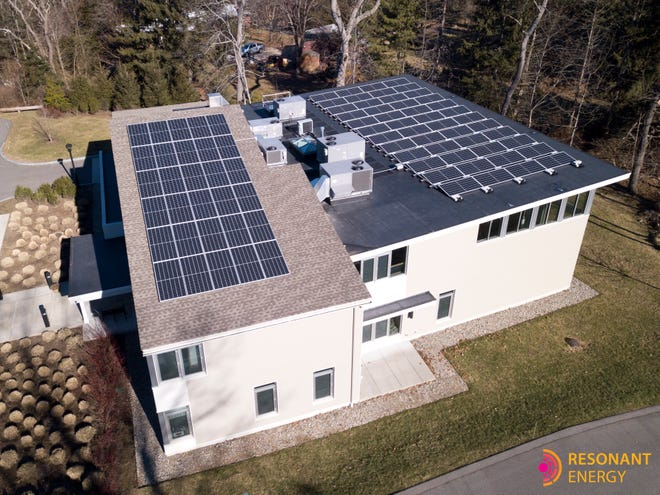 Congregation Beth Shalom of the Blue Hills has installed 78 solar panels s  new source of electrical energy.