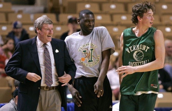 Pat Filien, center, and Tom Brennan's, left, share a laugh as Martin Klimes looks on during practuce before their 2005 NCAA Tournament game against Syracuse at the DCU Center
