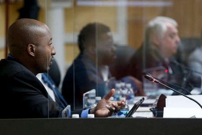 Councilperson Richard Garrett speaks aloud to his colleagues during a Clarksville City Council meeting at Clarksville City Hall in Clarksville, Tenn., on Thursday, Feb. 4, 2021.