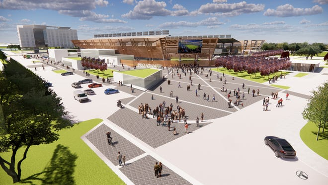 Pro Iowa and Krause+ plan a 6,300-seat soccer stadium and adjoining pedestrian plaza on the former Dico site in downtown Des Moines.