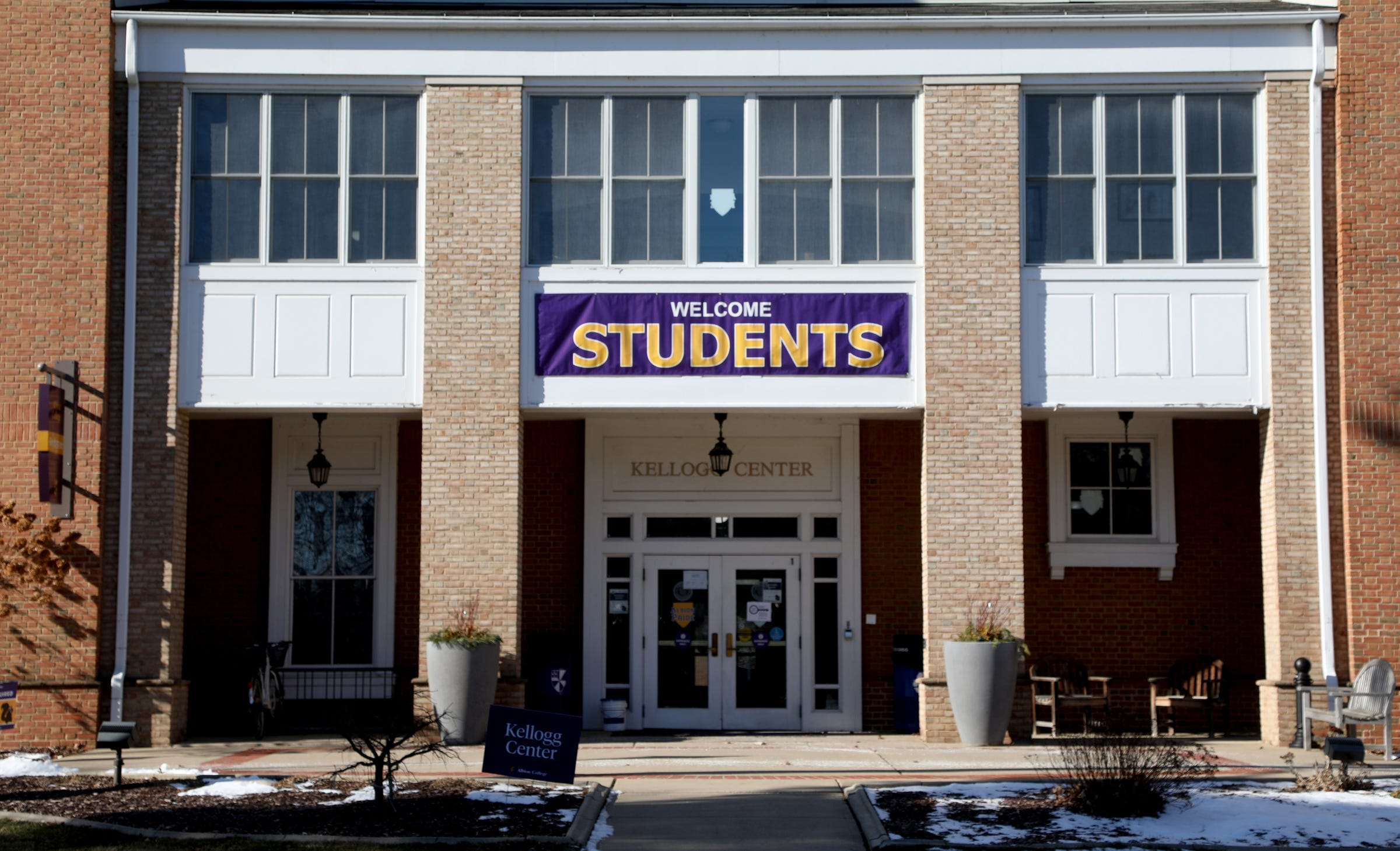 The Kellogg Center on campus at Albion College in January welcomes students back for the start of the winter semester.