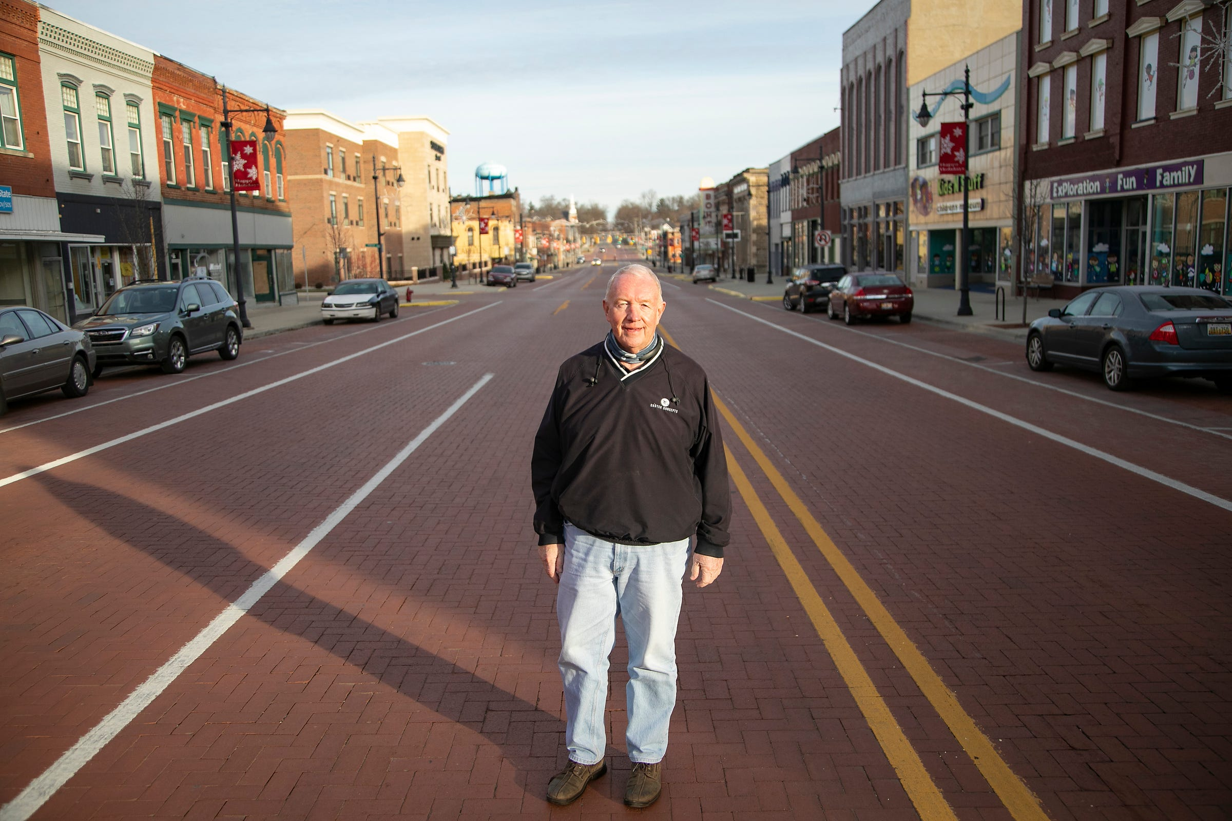 Bill Dobbins, president of Caster Concepts, in December in downtown Albion.
