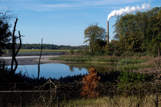 The smokestacks of CenterPoint Energy's A.B. Brown Generating Station can be seen in the distance behind its coal ash pond in Posey County near Evansville.