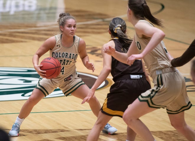 CSU guard McKenna Hofschild dribbles near the top of the key during the Rams' win over Wyoming in Moby Arena on Thursday, Feb. 4. The Rams completed the sweep with a 68-65 win Saturday.