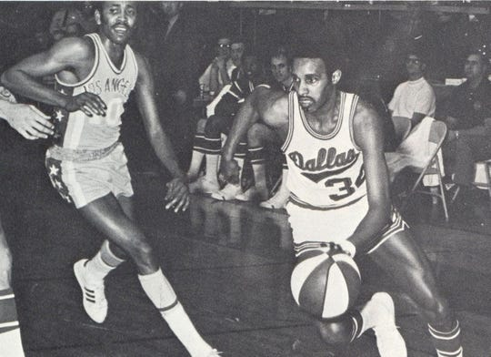 Maurice McHartley (right) playing for Dallas Chaps of the ABA. He now lives in subsidized housing in Atlanta and hopes the NBA will step up and give pensions to former ABA players.