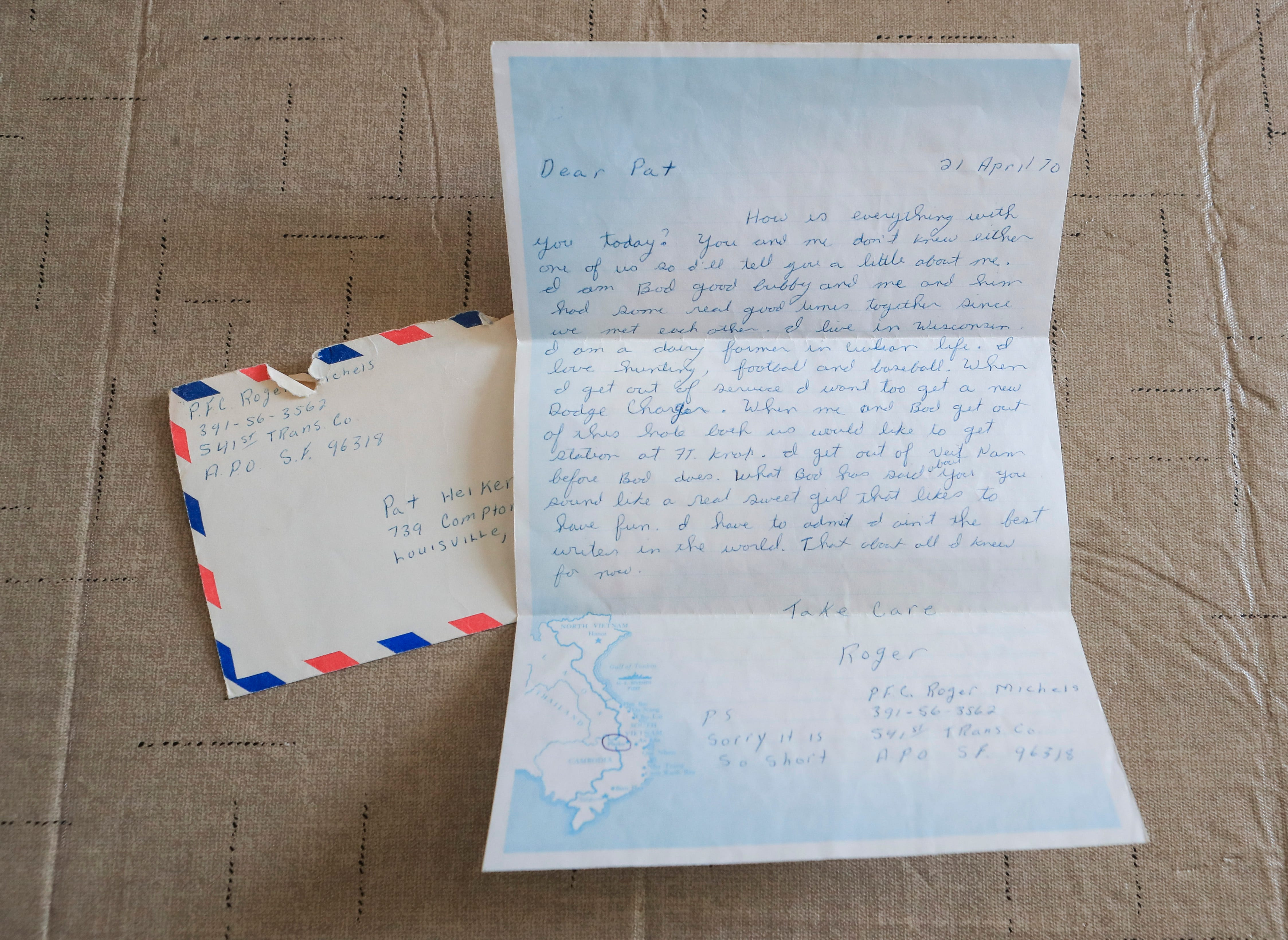 The first letter Roger Michels wrote to his future wife Pat. The couple have been married for 50 years. Feb. 3, 2021