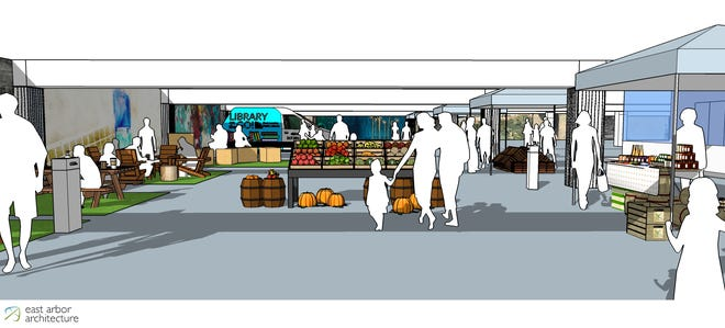 This rendering from East Arbor Architecture showcases East Lansing's plans to convert the basement of a parking garage into a market.