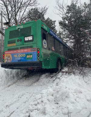 A Milwaukee County Transit System bus swerved off the road during a snowstorm on Feb. 4, 2021.
