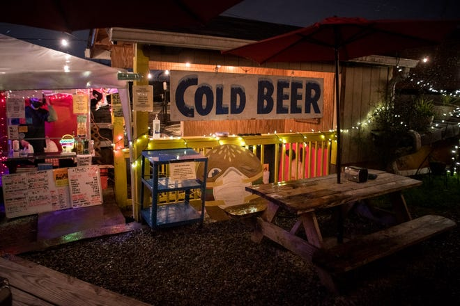 The outdoor patio at Dino's in Nashville, Tenn., Thursday, Feb. 4, 2021. The East Nashville bar has laid down strict rules to help battle COVID-19.