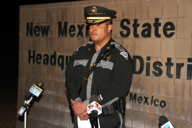 New Mexico State Police Chief Robert Thornton fought back tears as he provided details to the media on Thursday's shooting incident that left NMSP Officer Darian Jarrott dead from a single gunshot wound east of Deming near Akela.