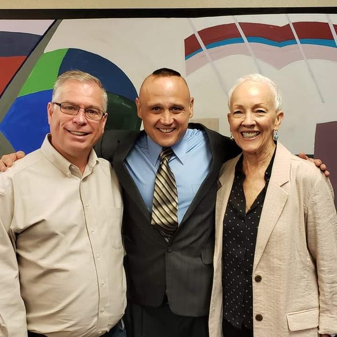From left, State Senator Daniel Ivey-Soto, Justin Allen and State Rep. Gail Chasey are pictured in September 2019.