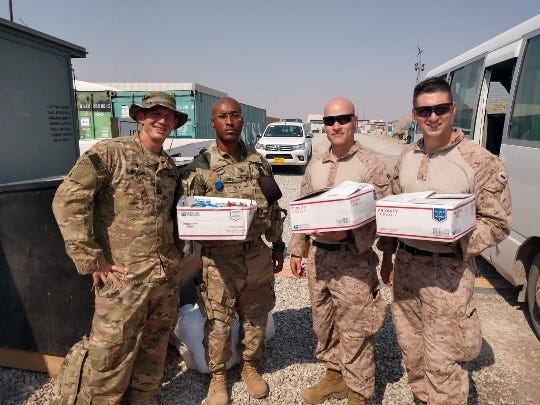 Volunteers at MilVet send monthly care packages to service members deployed all over the world.