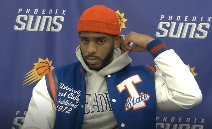 Chris Paul showing his support for historically Black colleges and universities after a Jan. 23 overtime loss to Denver at Phoenix Suns Arena.