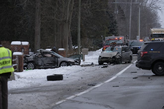 Crews are on the scene of a three-car crash on Lakeshore Road Friday, Feb. 5, 2021. The road is closed between Brace and Metcalf roads.