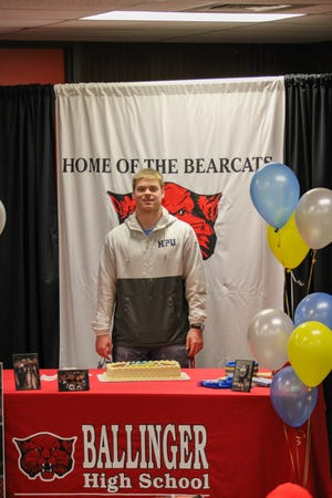 Ballinger's Tyler Vaughn signed to play football at Howard Payne University in Brownwood on Friday, Feb. 5, 2021, during a signing ceremony at Ballinger High School.