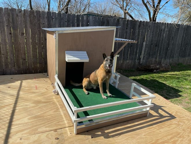 Spencer Teague donated this handmade doghouse to K-9 officer Duke of the San Angelo Police Department.