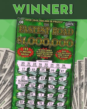 """A promotional depiction of a """"Fastest Road"""" scratch off ticket."""