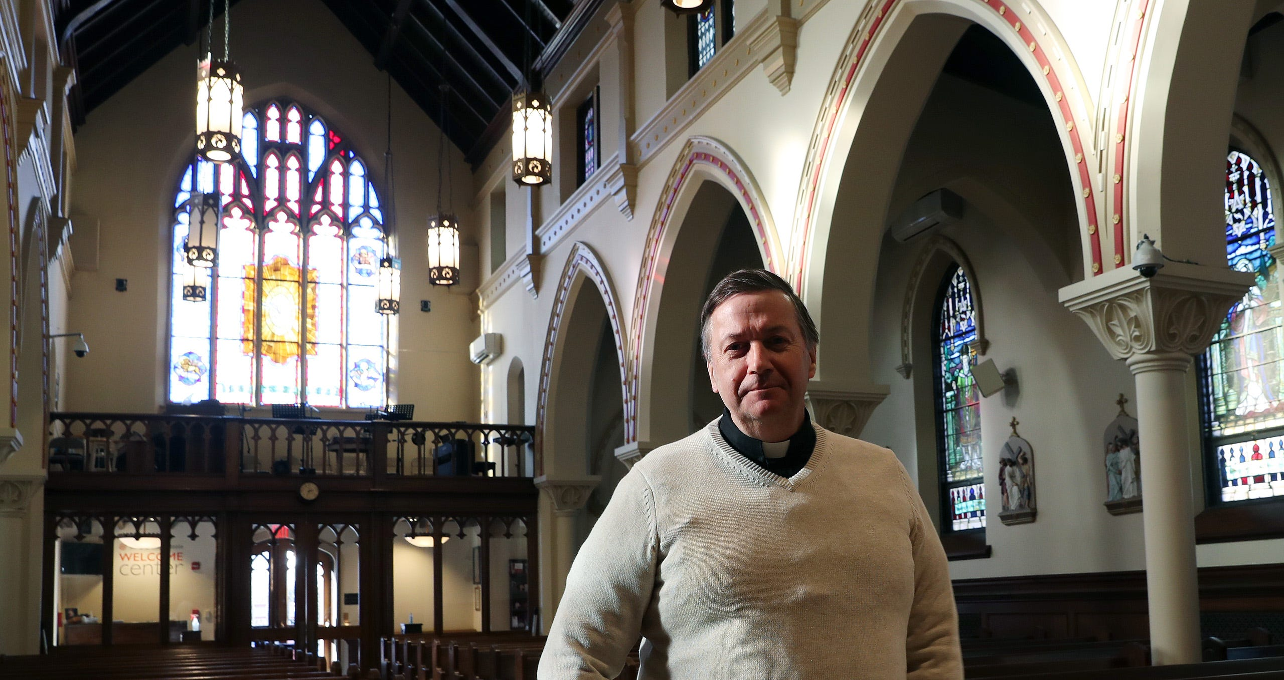 As we all look forward to the day when the pandemic is behind us, spiritual leaders like the Rev. Richard Gill, pastor of Saint Lawrence O'Toole church in Brewster, ponder what that might look like. Gill is shown here inside the church in Brewster.