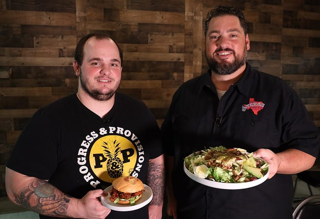 Kyle Dalka, left, owner and executive chef of Progress & Provisions Craft Kitchen, and Texas Bucket List host Shane McAuliffe