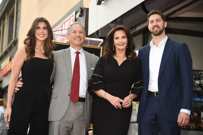 Robert A. Altman, second from left, attends the star unveiling ceremony for his wife, Lynda Carter, along with their children, Jessica Altman and James Altman, at the Hollywood Walk of Fame in 2018 in Hollywood, California.