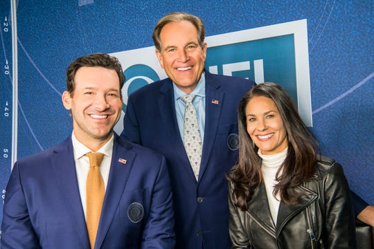 Covering Super Bowl LV for CBS Sports: (L-R): Tony Romo, Jim Nantz, and Tracy Wolfson.