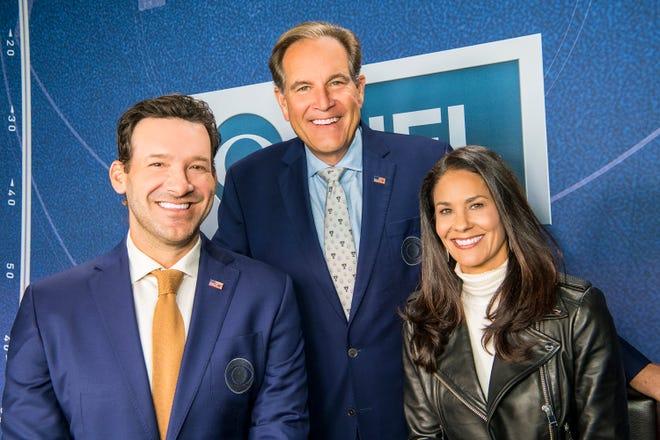 Covering Super Bowl LV for CBS Sports: (L-R): Tony Romo, Jim Nantz, and Tracy Wolfson.