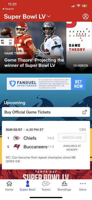 The NFL app will stream the game for free, too, and iPhone 12 owners across all 5G carriers can view up to five of the different camera angles – and get augmented reality real-time statistics, as part of Verizon's Super Bowl offerings.