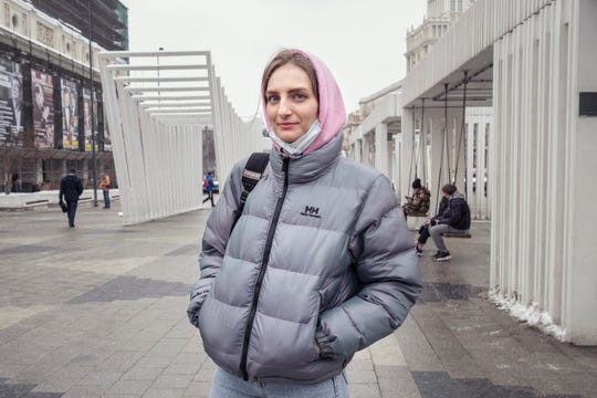 Darya Grechishkina in Mayakovskaya Square, Moscow on Feb. 4, 2021.