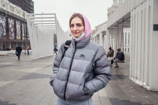 Darya Grechishkina in Mayakovskaya Square, Moscow on Feb. 4, 2021.
