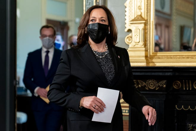 Vice President Kamala Harris arrives to swear in Pete Buttigieg as secretary of transportation in the White House complex on Wednesday.