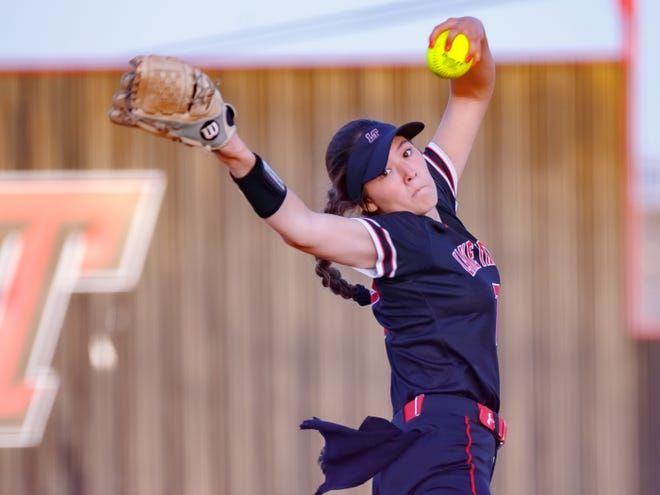 """Lake Travis junior Paige Connors, firing a pitch against Westlake, would like to have dinner with Will Ferrell and considers """"SpongeBob SquarePants"""" her favorite TV show."""