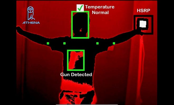 Image of Athena Security's thermal scan showing temperature and gun detection.