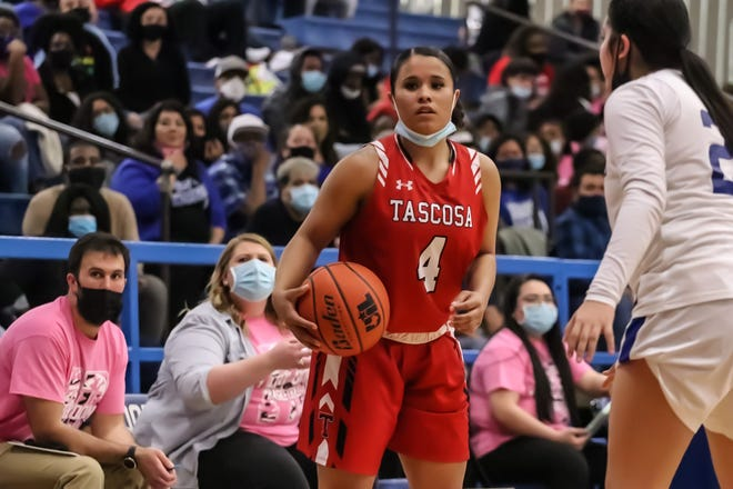 Jessalyn Gonzales, the only senior for the Tascosa Lady Rebels, looks for a shot during Friday's last regular season contest against Palo Duro. [Ben Jenkins/for the Amarillo Globe-News]