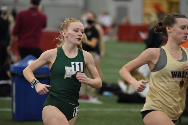 New Brighton graduate Alyssa Campbell competes in a race for Point Park at Youngstown State on Jan. 15. Campbell was recently named the national NAIA Indoor Track Athlete of the Week for breaking the 5 minute mark in the mile for the first time.