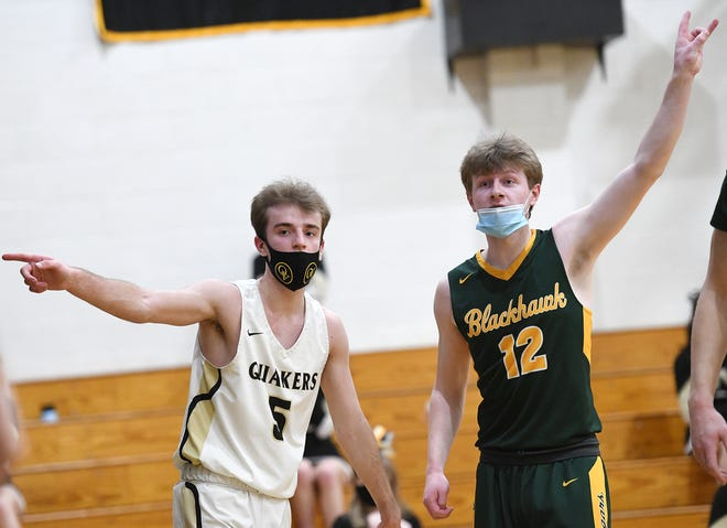 Quaker Valley's Jack Gardinier and Blackhawk's Ryan McClymonds react to an out-of-bounds ball during a game earlier this season.