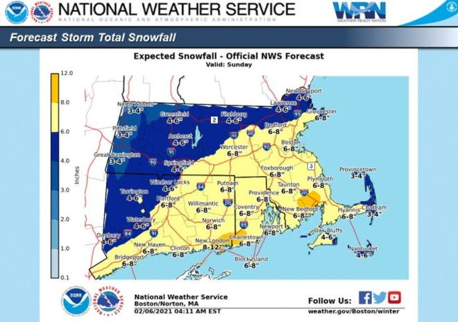 Sunday is expected to bring the most snow for Cape Cod so far this season