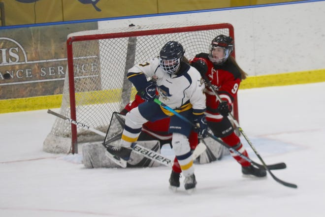 Reese Swanson in a game against Detroit Lakes on Feb. 5. Swanson scored and assisted on two other goals in Crookston's 3-1 win over the Lakers on March 8.