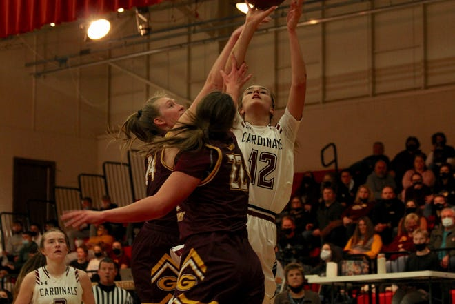 Langdon/Edmore/Munich girls basketball fell to Grafton, 70-46, on Feb. 5 at Langdon Area High School.