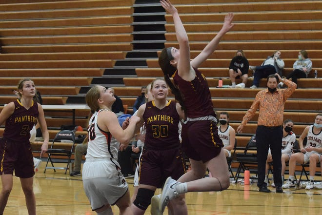 Mount Pleasant High School sophomore Andrea Lopreato (airborne) scored a career-high 37 points and pulled down 16 rebounds in the Panthers' 62-52 win over Burlington on Friday night.