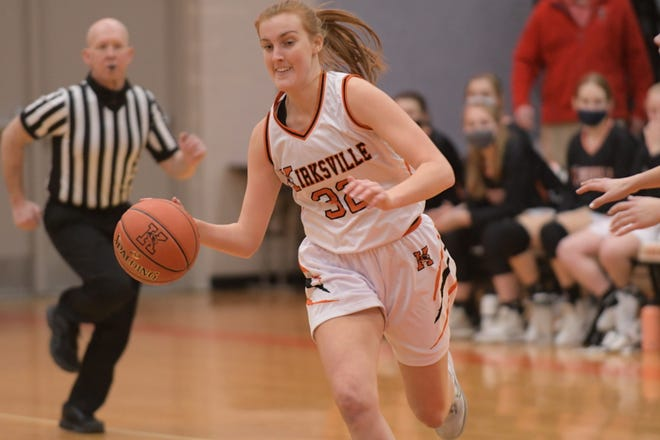 Kirksville senior Erica Treasure dribbles the ball back up-court after corralling a steal Friday against Hannibal.