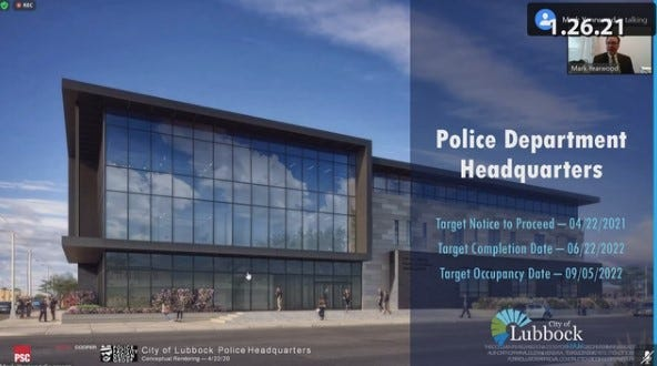 Design photo of the Lubbock Police Department Headquarters set to begin construction this year.