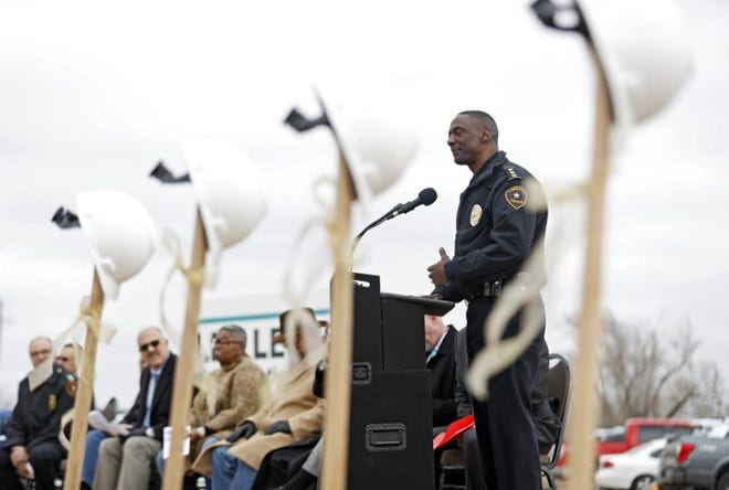 Lubbock Police Chief Floyd Mitchell speaks before a groundbreaking ceremony for the first police patrol station in 2019.