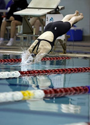 Lubbock High's Shaena McCloud swims in the 100-yard freestyle during the 5A Regional Girl's Swimming Championship, Friday, Feb. 5, 2021, at Pete Ragus Aquatic Center in Lubbock, Texas.
