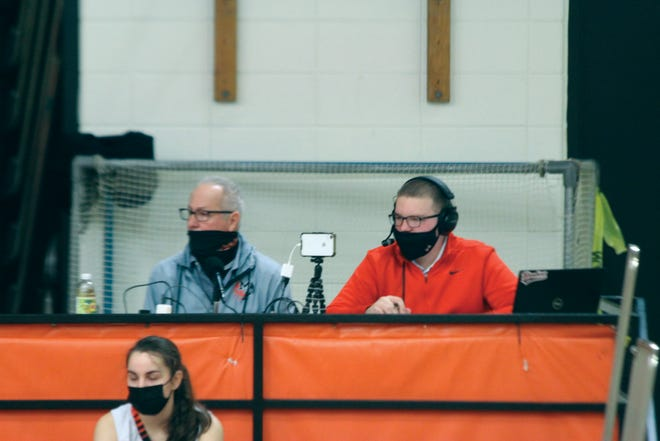 Justice Keene and Kelly Sears broadcast Macomb basketball.