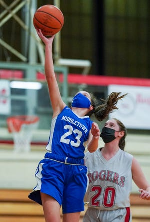 Mia DeSantis has been a strong offensive contributor this season for the Middletown girls basketball team.